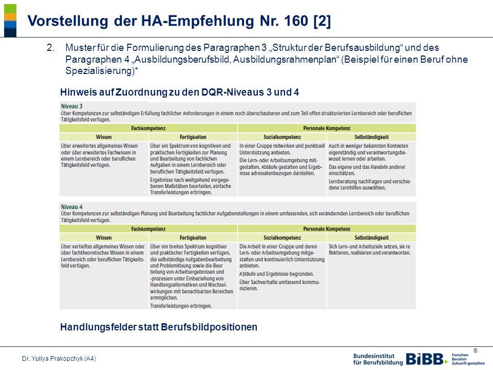 Vorstellung der HA-Empfehlung Nr. 160 [2]